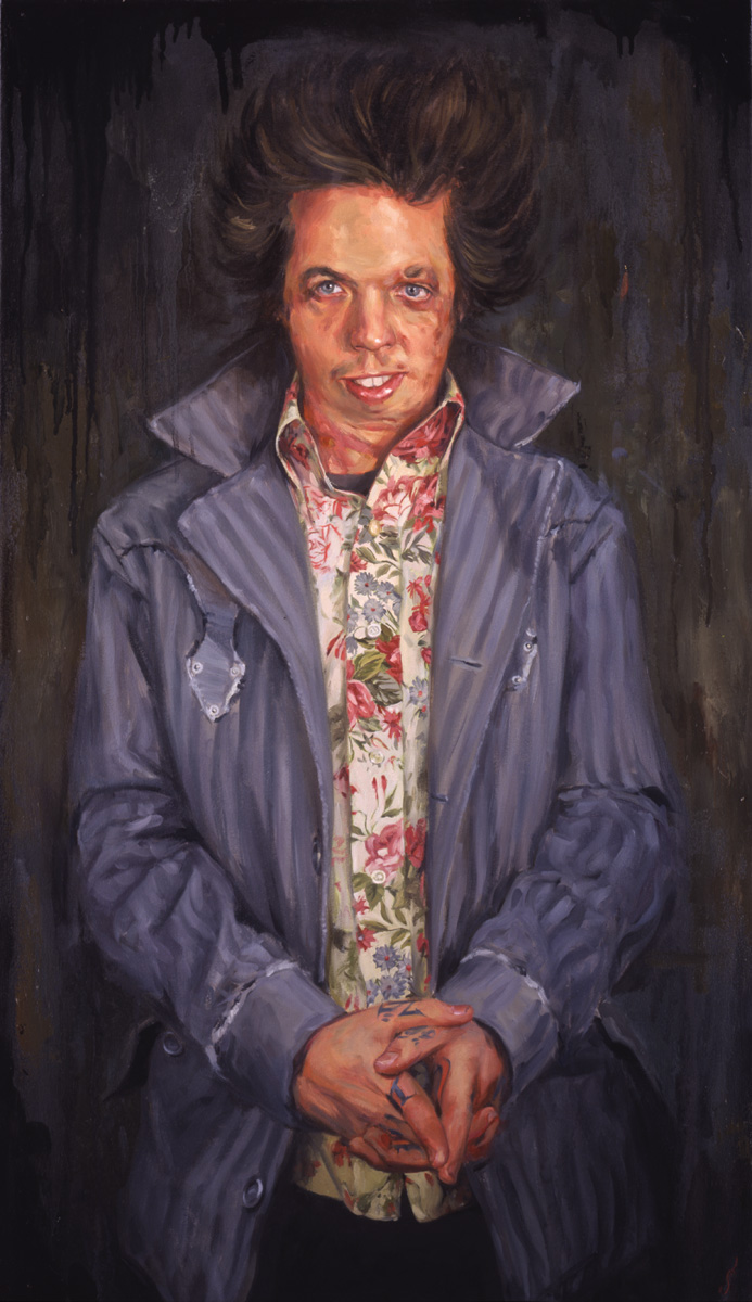 "'Portrait of the Artist, Grime', oil on canvas, 42"" x 20"", 2005, Collection of Aaron and Christine Cain"