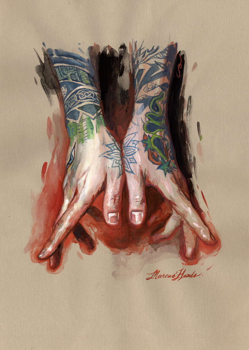 "'Marcus Pacheco's Hands', goauche, watercolor on toned paper, 12"" x 9"", 2007, Private Collection"