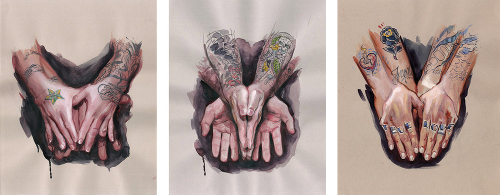 "'Marco Serio's Hands', Collection of Marco Serio / 'Shinji's Hands', Private Collection / 'Bryan Randolph's Hands', Private Collection // All goauche, watercolor on toned paper, 12"" x 9"", 2007"