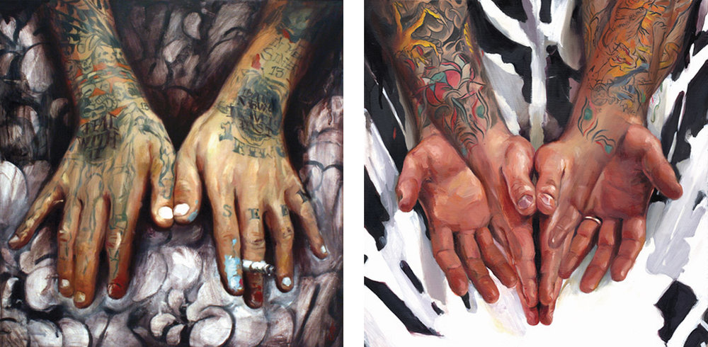 "'Seen's Hands', oil on wood, 16"" x 16"", 2007, Collection of Seen / 'Troy Denning's Hands', oil on wood, 16"" x 16"", 2007, Collection of Troy Denning"