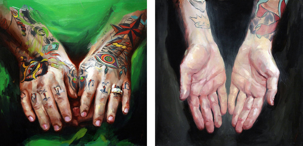 "'Bert Krak's Hands', oil on wood, 16"" x 16"", 2007, Collection of Norm / 'Chris O'Donnell's Hands', oil on wood, 16"" x 16"", 2007, Personal Collection"