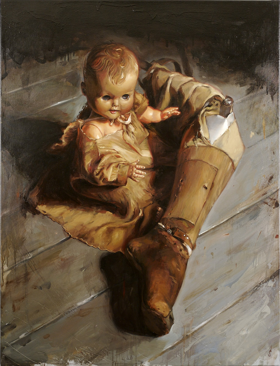 "'Crutch', oil on canvas, 42"" x 32"", 2006, Collection of Seen"