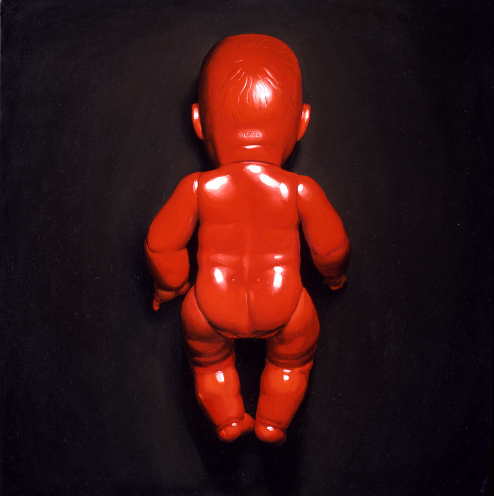 "'Self Portrait in Red', oil on canvas, 36"" x 36"", 2004, Collection of Matt Petty"