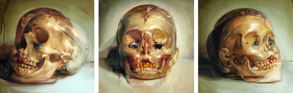 "'Skullhead, Left View', Collection of Grime :: 'Skullhead, Front View', Collection of Andres Guerrerro :: 'Skullhead, Right View', Collection of Jason Loui; All oil on panel, 8"" x 8"", 2005"