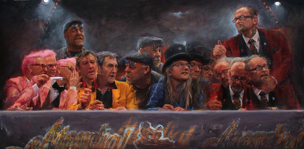"'Paris Salon: The Judges Table: Tin-Tin, Kari Barba, Luke Atkinson, Filip Leu, Bill Salmon, ' oil on panel, 24"" x 48"", 2017-2018, Collection of Tin-Tin"