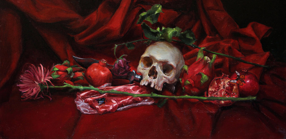 "'Vanitas Still Life 3' (for Creature Skateboards), oil on canvas, 12"" x 24"", 2017"