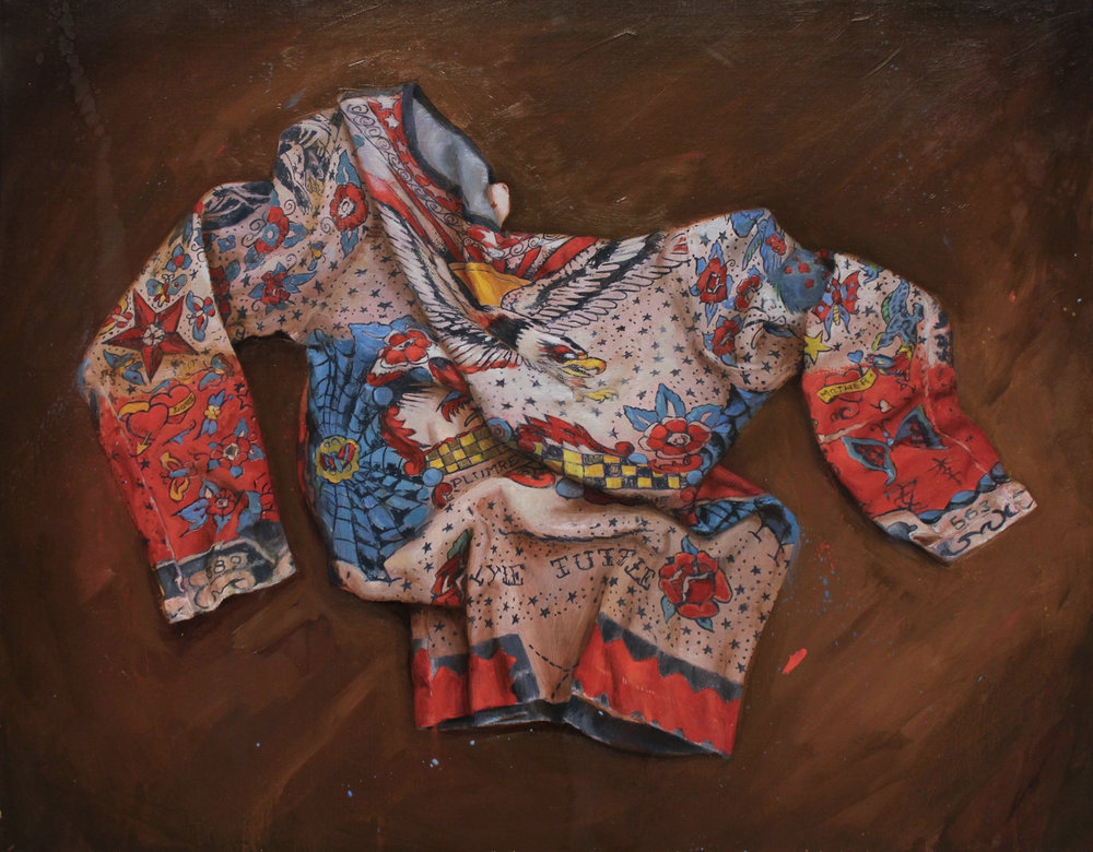 "'Lyle Tuttle Tattoo Body Shirt', oil on canvas, 24"" x 30"", 2017, Collection of John Whitman"