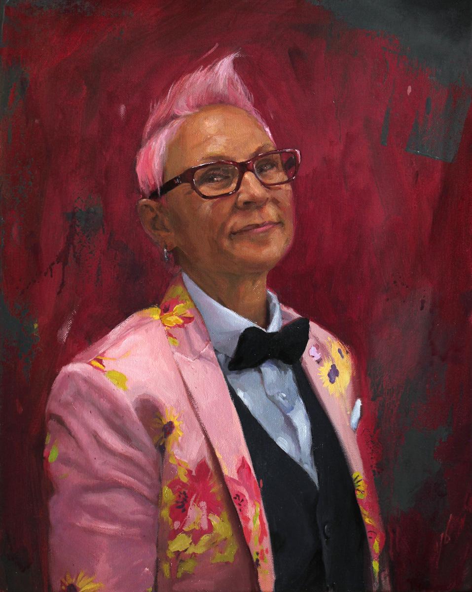 "'Portrait of the Artist, Kari Barba, oil on canvas, 20"" x 16"", 2017"
