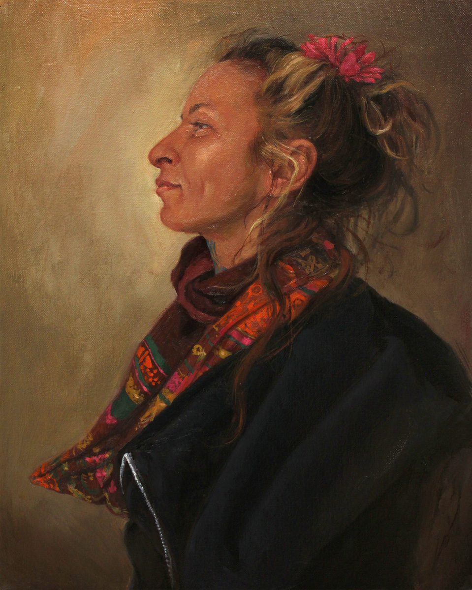 """'Portrait of the Artist, Genziana Cocco', oil on canvas, 20"""" x 16"""", 2017, Collection of Genziana Cocco"""