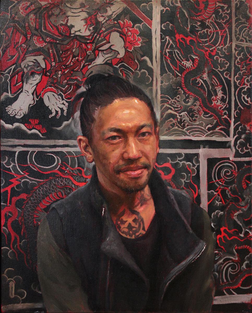 "'Portrait of the Artist, Ichibay, oil on canvas, 20"" x 16"", 2017"