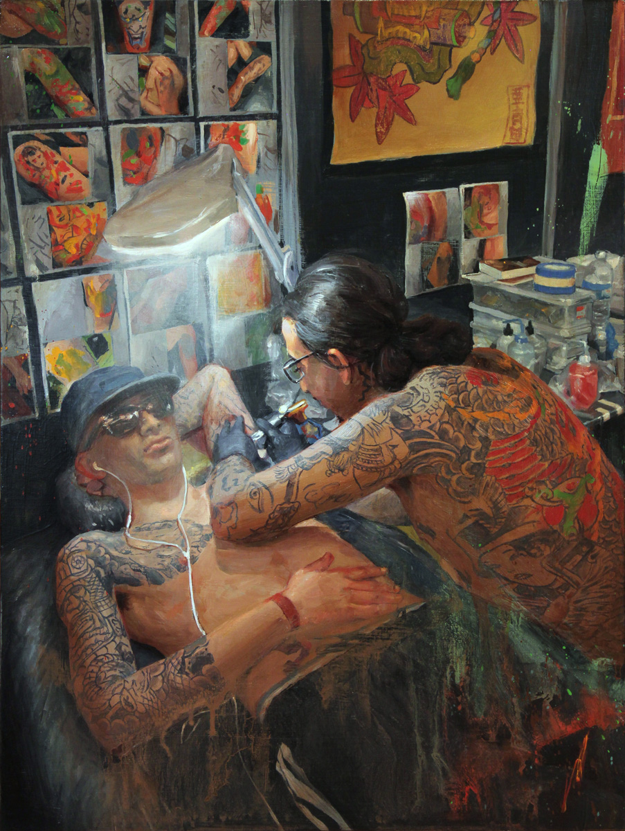 "'Amar Goucem at Work, oil on panel, 16"" x 12"", 2017, Collection of Amar Goucem"