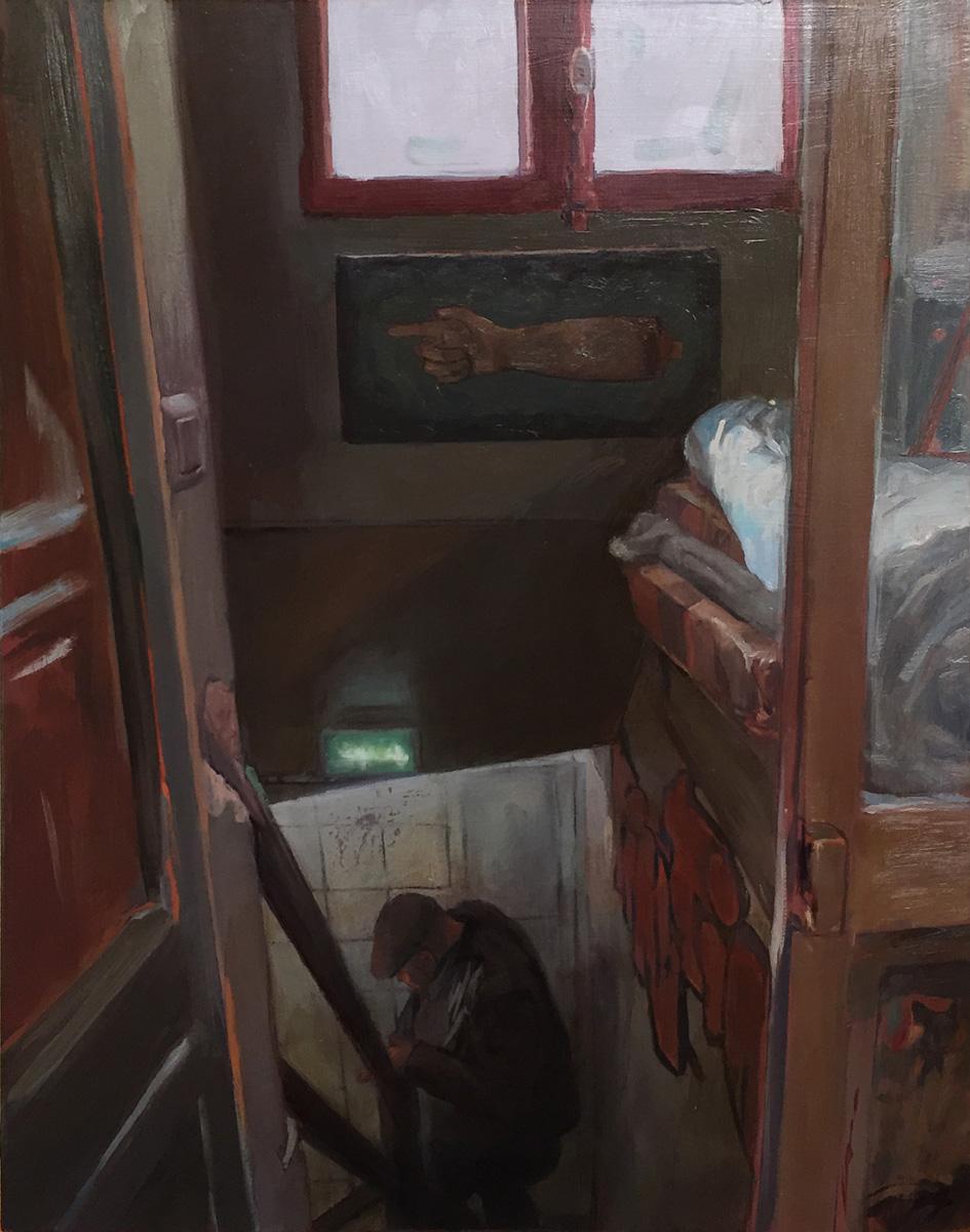 "'Tin-Tin Tatouage,Paris; Upstairs looking down',  oil on panel, 14"" x 11"", 2017, Collection of Mikael de Poissy"