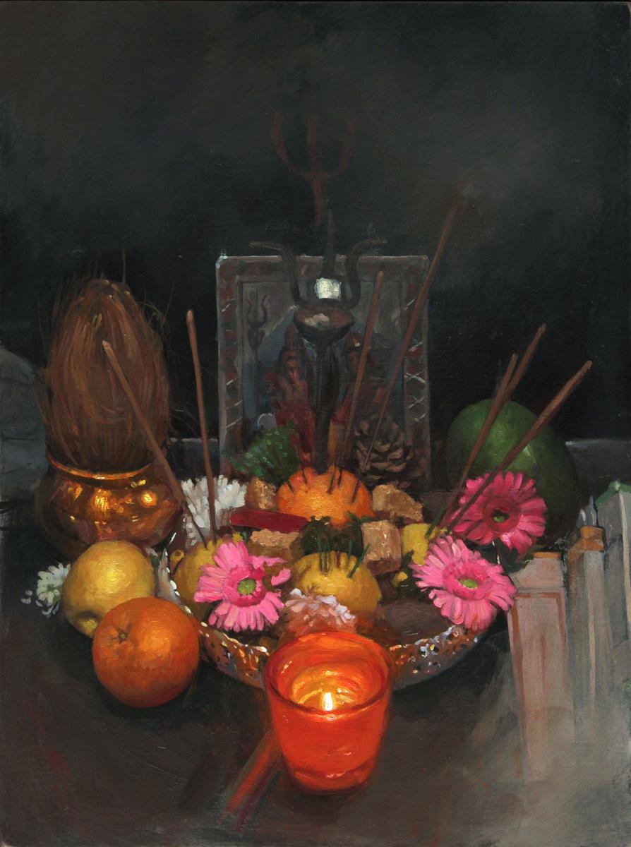 "'Tomas Tomas' Altar', oil on panel, 12"" x 9"", 2017"