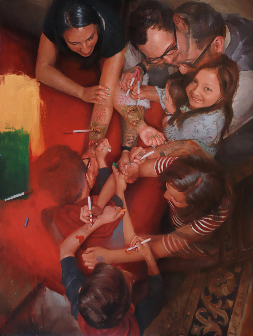 "'The Hurtado Family', oil on canvas, 48"" x  36"", 2018, Collection of Nikko and Joanne Hurtado"