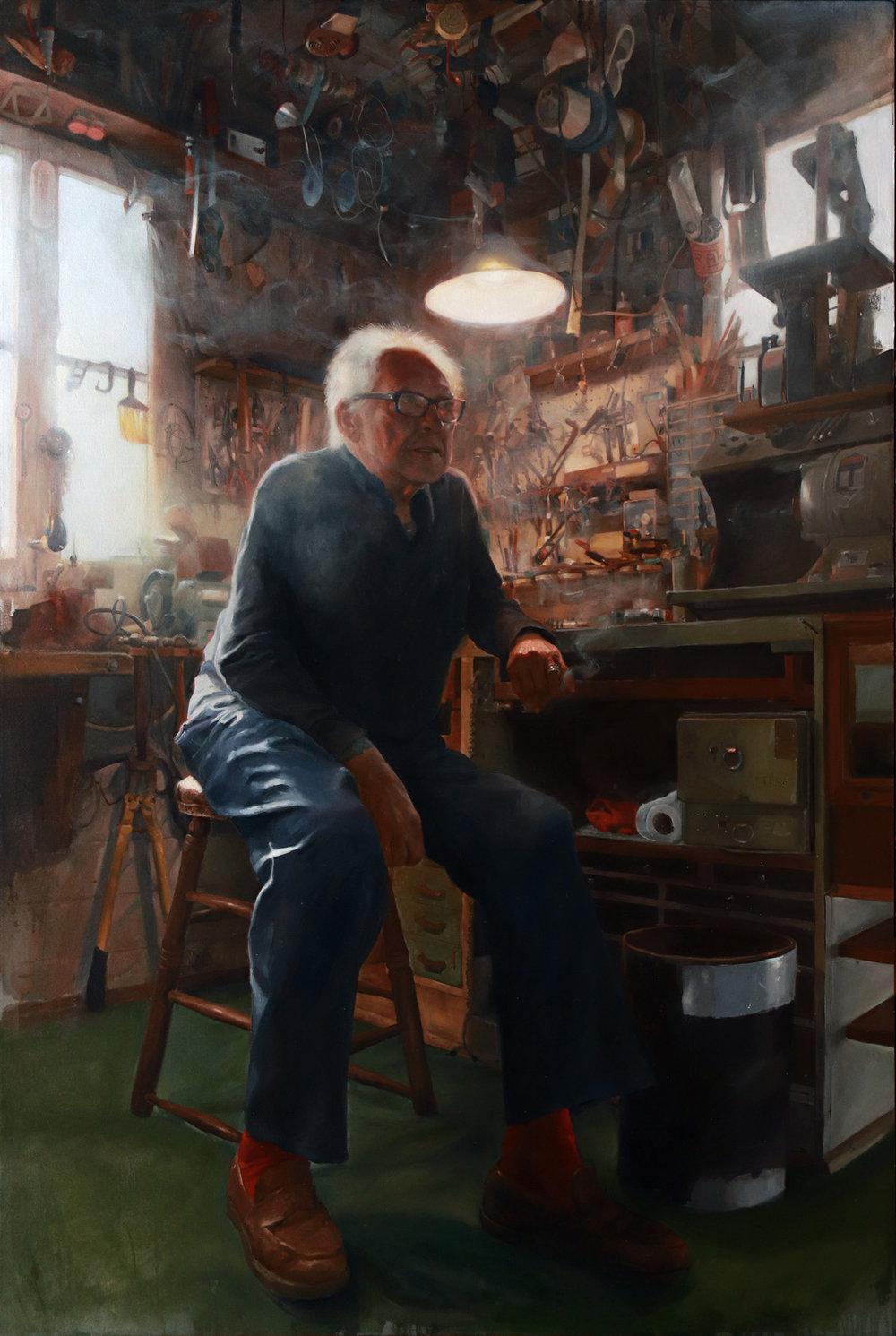 "'Portrait of the Artist, Lyle Tuttle, in his Workshop, Ukiah, CA', oil on canvas, 72"" x 48"", 2018"