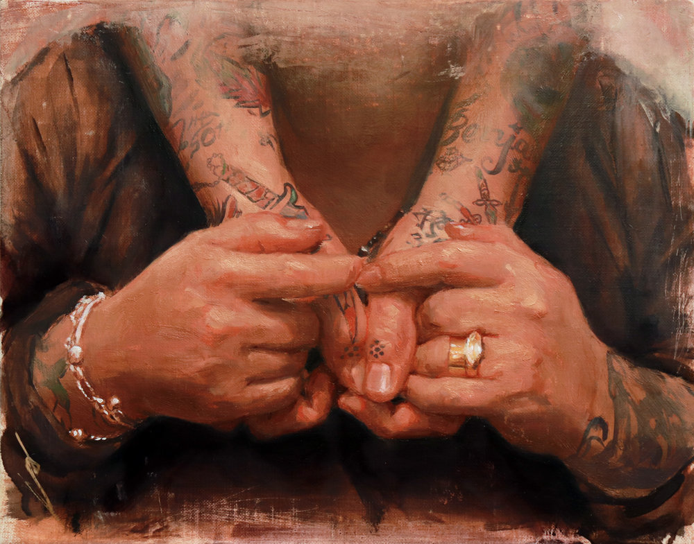 "'Deb and Don Yarian's Hands', oil on linen panel, 8"" x 10"", 2018, Collection of Don and Deb Yarian"