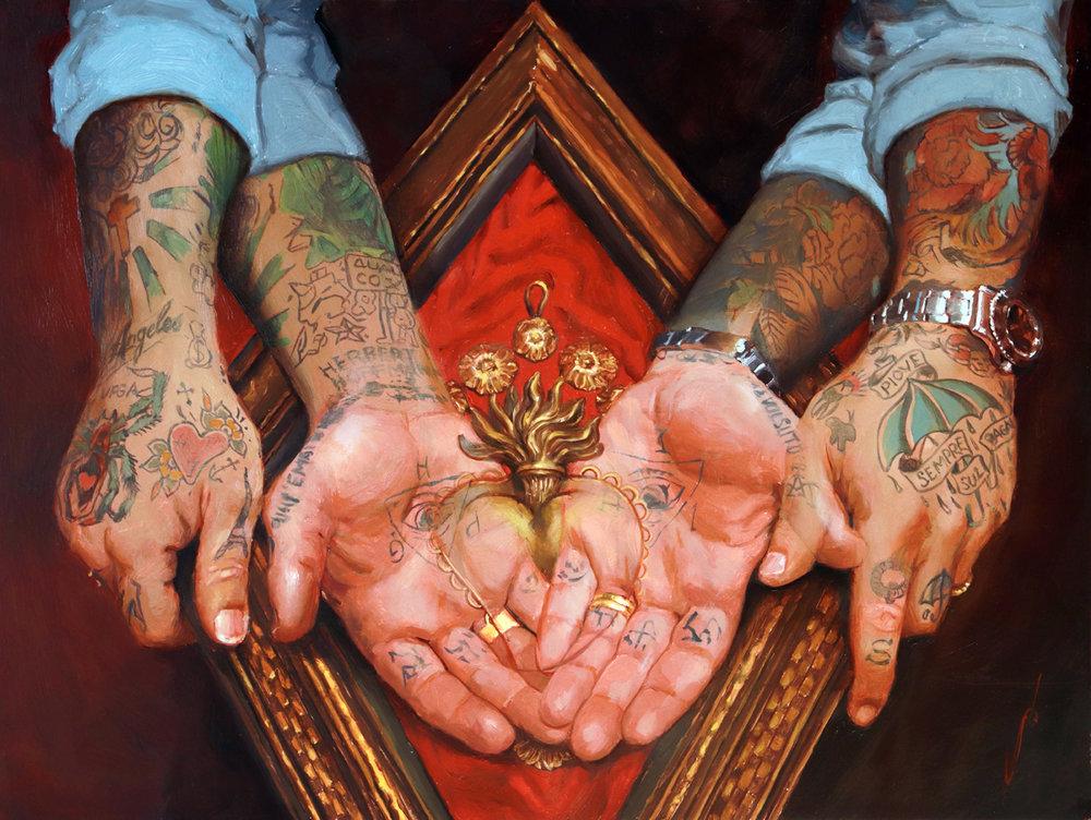 "'Simone El Rana's Hands', oil on panel, 12"" x 16"", 2019"