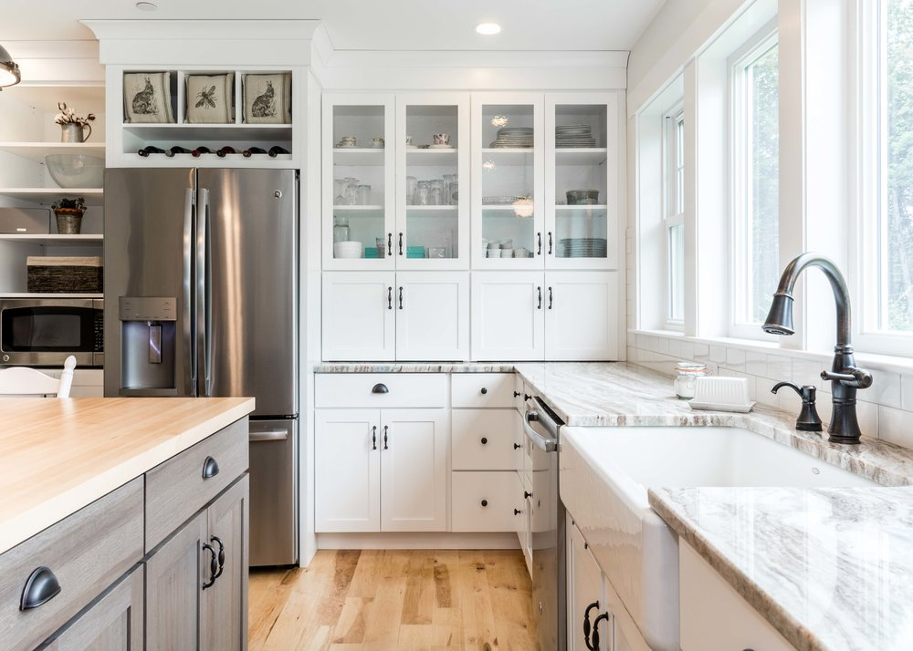 Granite Ridge Farmhouse, Windham, Maine, Kitchen Glass Cabinets