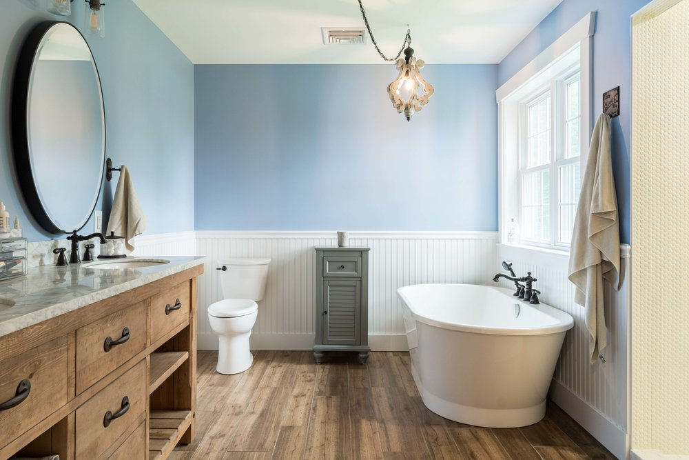 Granite Ridge Farmhouse, Windham, Maine, Master Bathroom