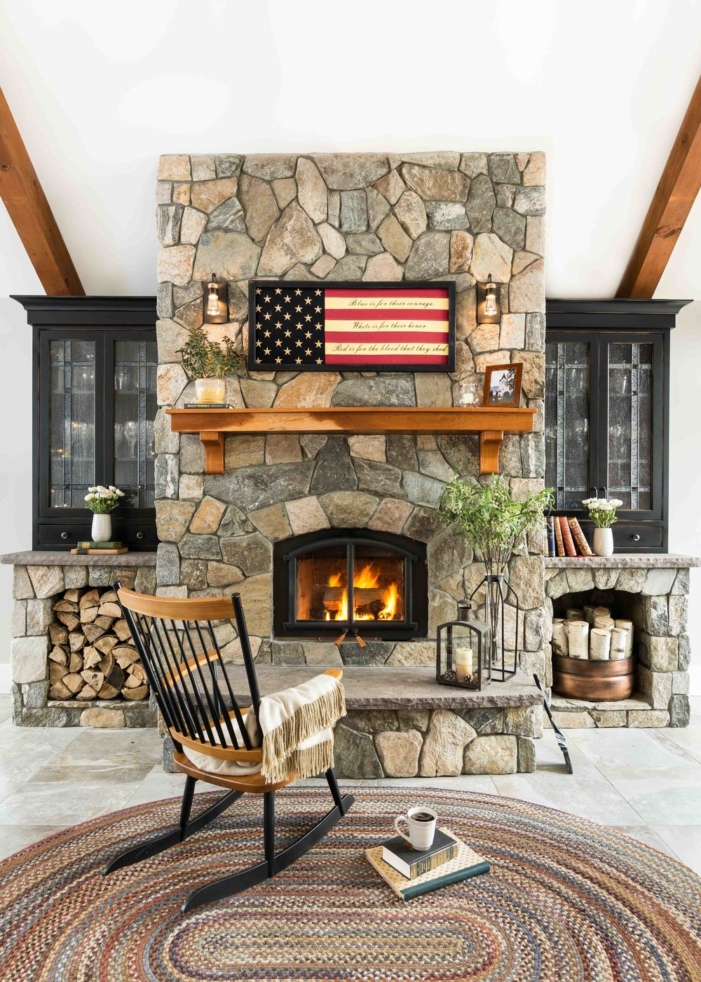 Stone Fireplace, Raymond Maine. MGM Builders