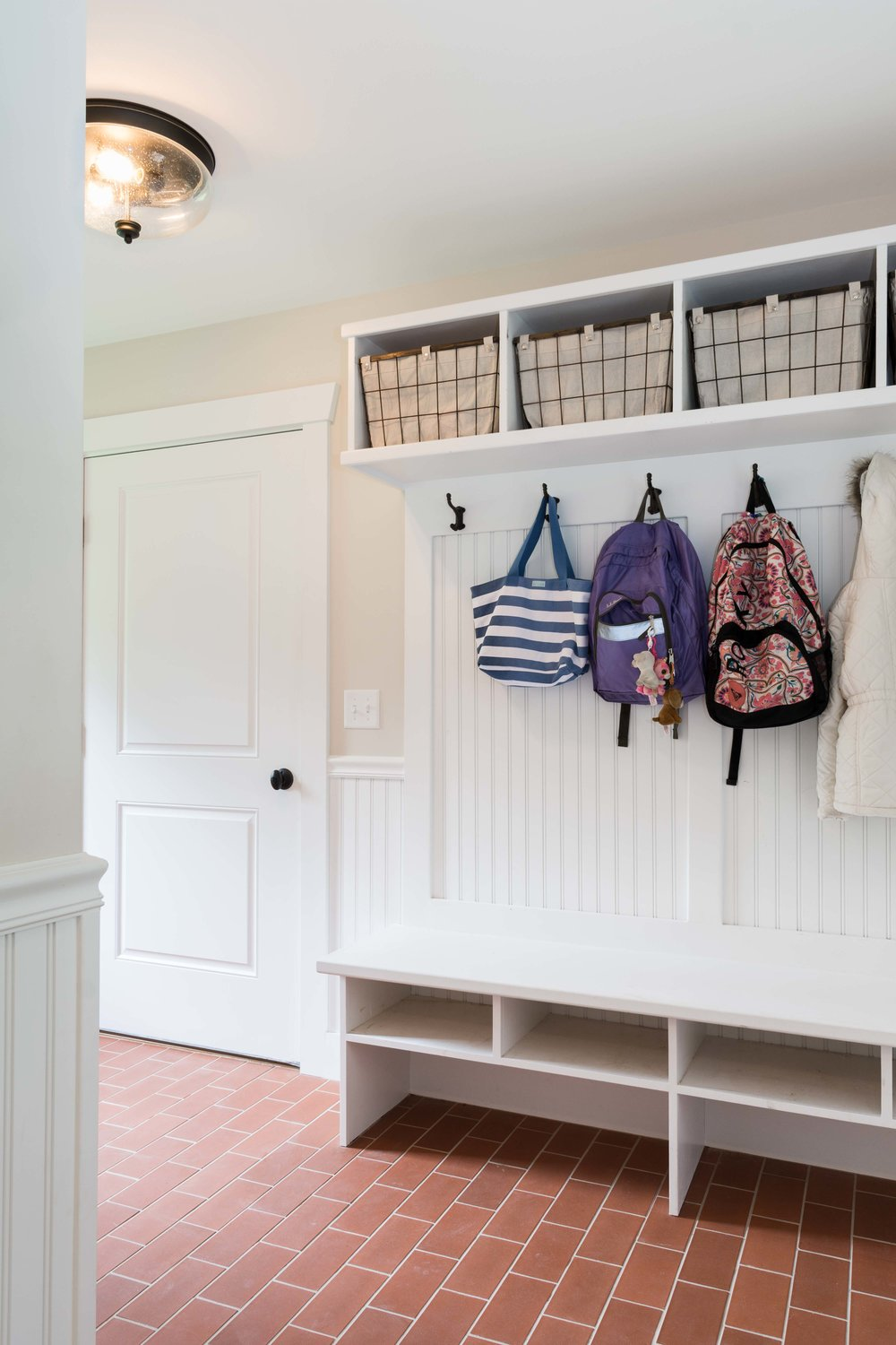 Farmhouse Mudroom, Windham Maine. MGM Builders