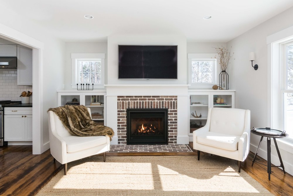 Pleasant River Farmhouse, Windham, Maine, Brick Fireplace