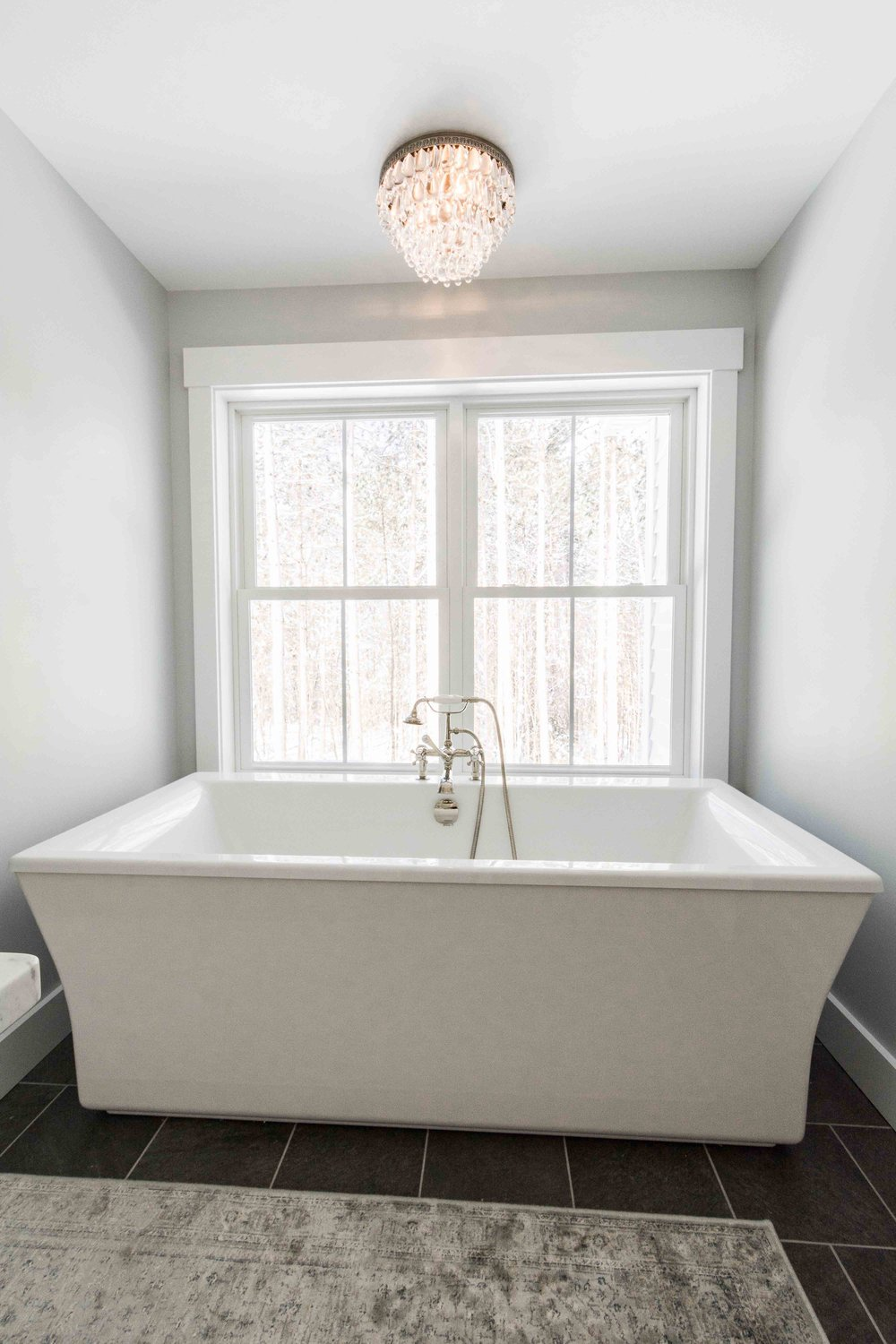 Pleasant River Farmhouse, Windham, Maine, Master Bathroom Tub