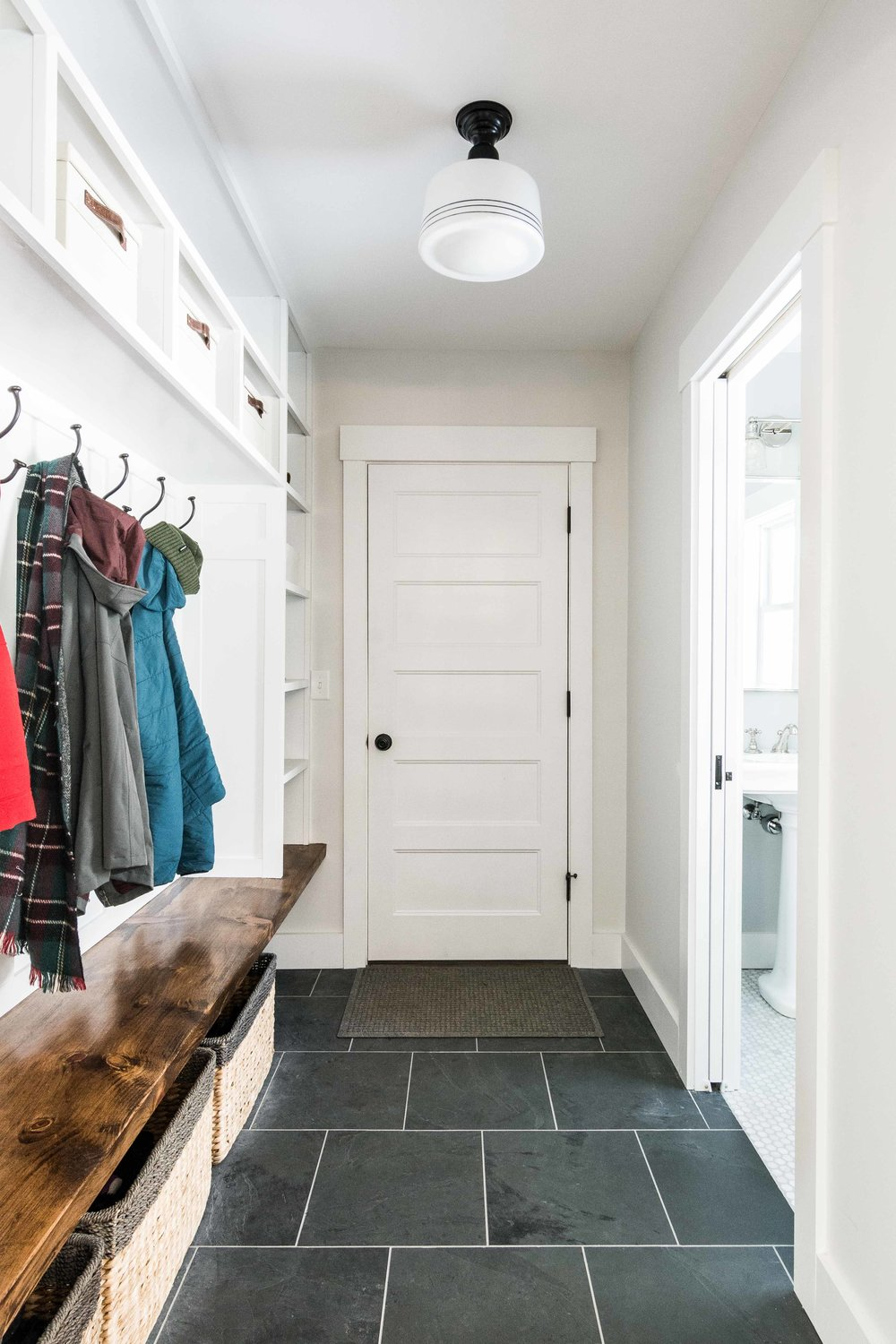 Pleasant River Farmhouse, Windham, Maine, Mudroom with Built-Ins