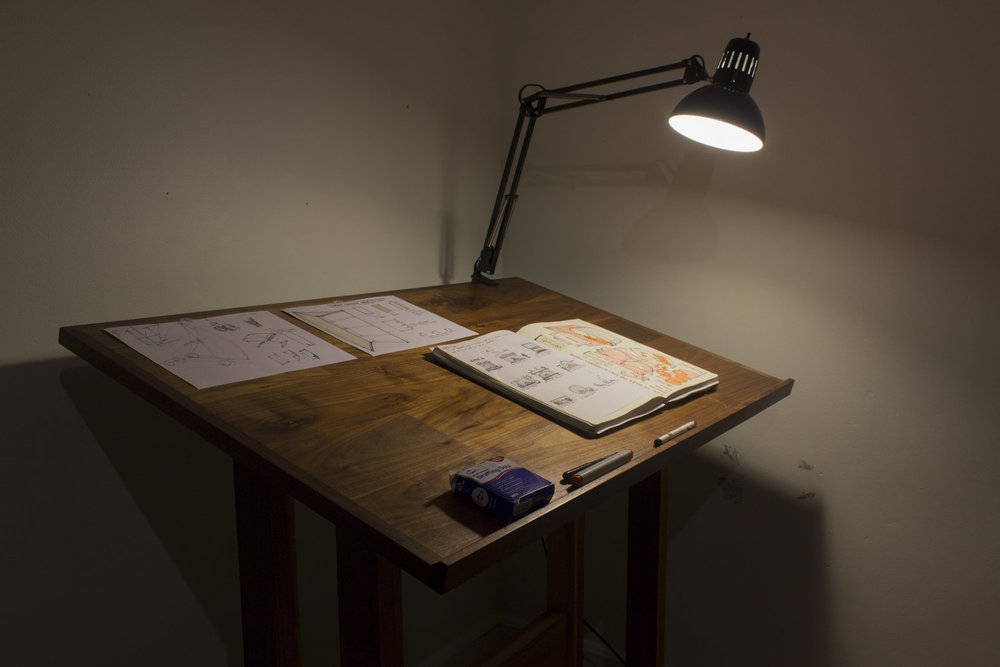 Drafting Table, 2015. Walnut.