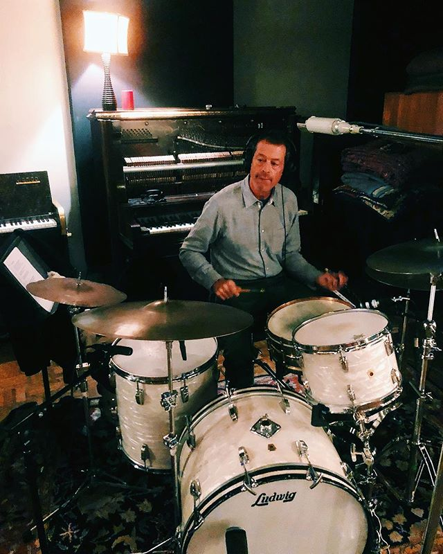 We loved supplying @ironandwinetour & @casadecalexico with drums at their recent @soundemporiumstudios session in Nashville. Here's John playing our 1968 @ludwigdrumshq Super Classic kit and 1926 Black Beauty snare. Can't wait to hear the final product! #johnconvertino #ironandwine #soundemporium #calexico