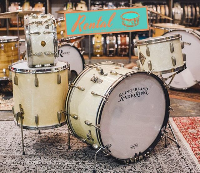 """We are very excited to announce we're officially partnering with our good friends at @nelson_drum_shop to handle all things RENTAL starting today! We are thrilled to be a part of the NDS family. Also joining us is long time drum tech and vintage collector, Clay Fuqua. Go to nelsondrumshop.com to check out the inventory. Here's our 1946 Slingerland Radio King 'Gene Krupa Deluxe' in 13, 16, 24 and matching 14x6.5"""" solid shell snare."""