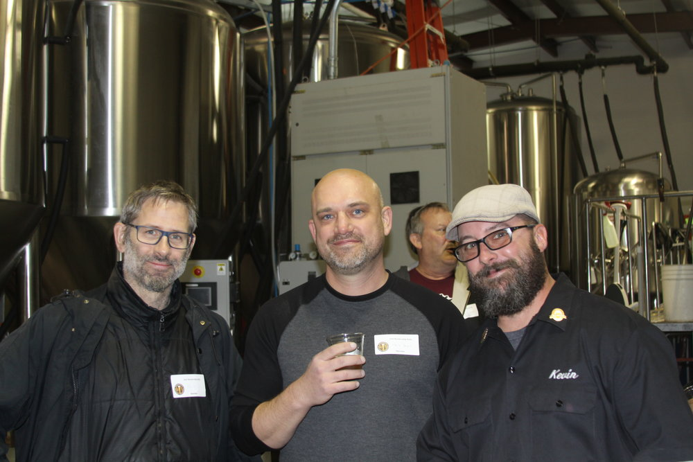 Franz Hofer (Member of the Stillwater homebrewers club), Chris Gunn (Rally attendee) and Kevn Lapham (President of the Red Earth Brewers Club)