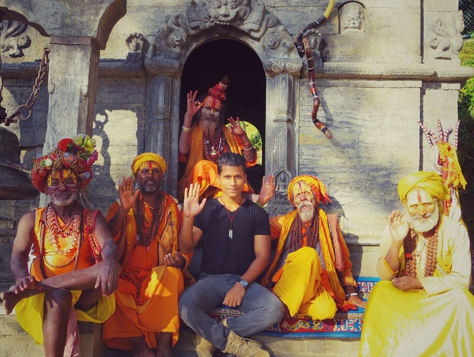 Sujan with Shiva followers at Pashupatinath, a Hindu temple in Kathmandu