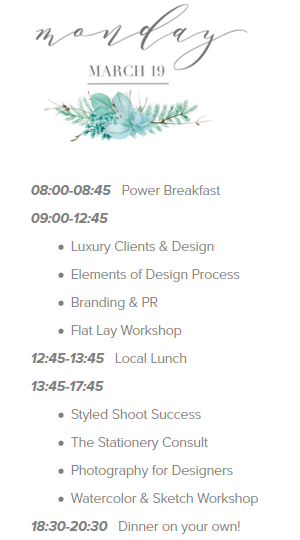 Inspire Design Workshop schedule Monday