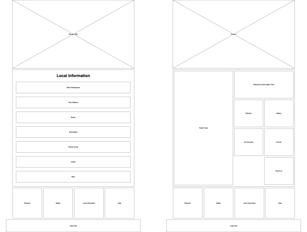 Wireframes: Local information and Media