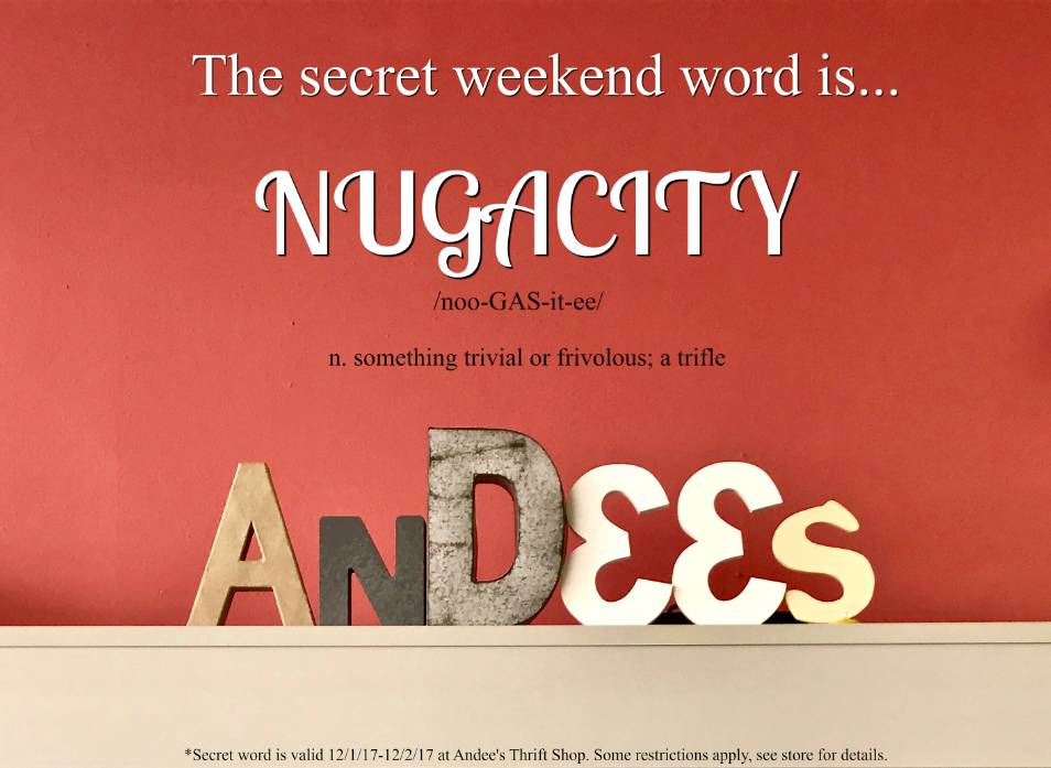 "The Andee's Secret Weekend Word is ""nugacity."" Say nugacity during check-out to save 10% on your total purchase!"
