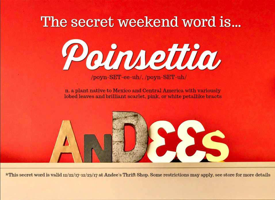 "The Andee's Secret Word this weekend is ""poinsettia!"" Say poinsettia during check out to save 10% on your total purchase!"