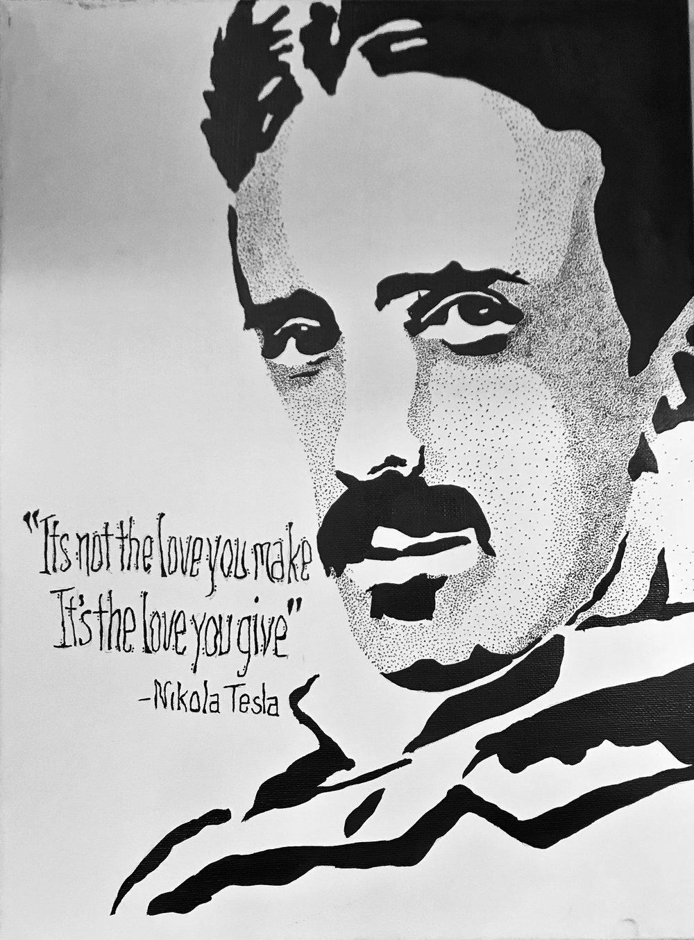 Nikola Tesla B&W Canvas