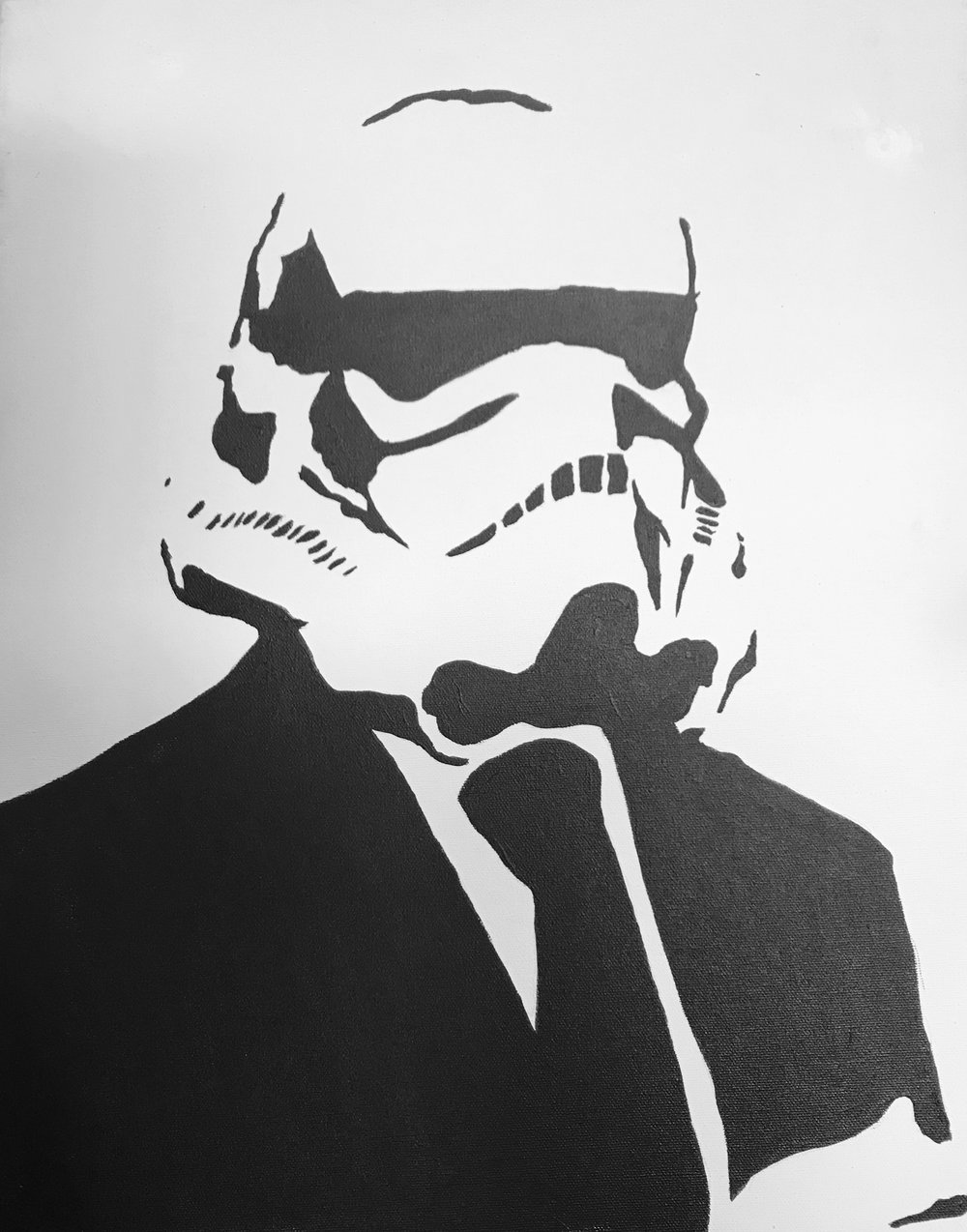 Stormtrooper Canvas Art B&W