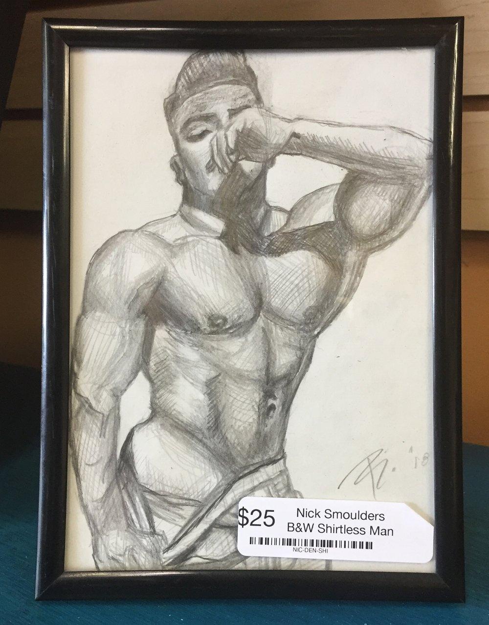 B&W Shirtless Man Sketch