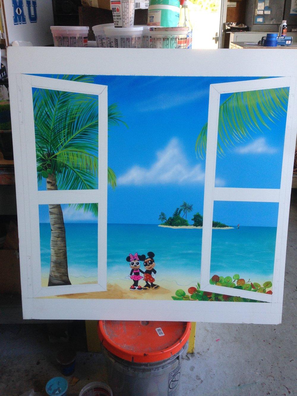 Faux Window--Mickey & Minnie on the Beach
