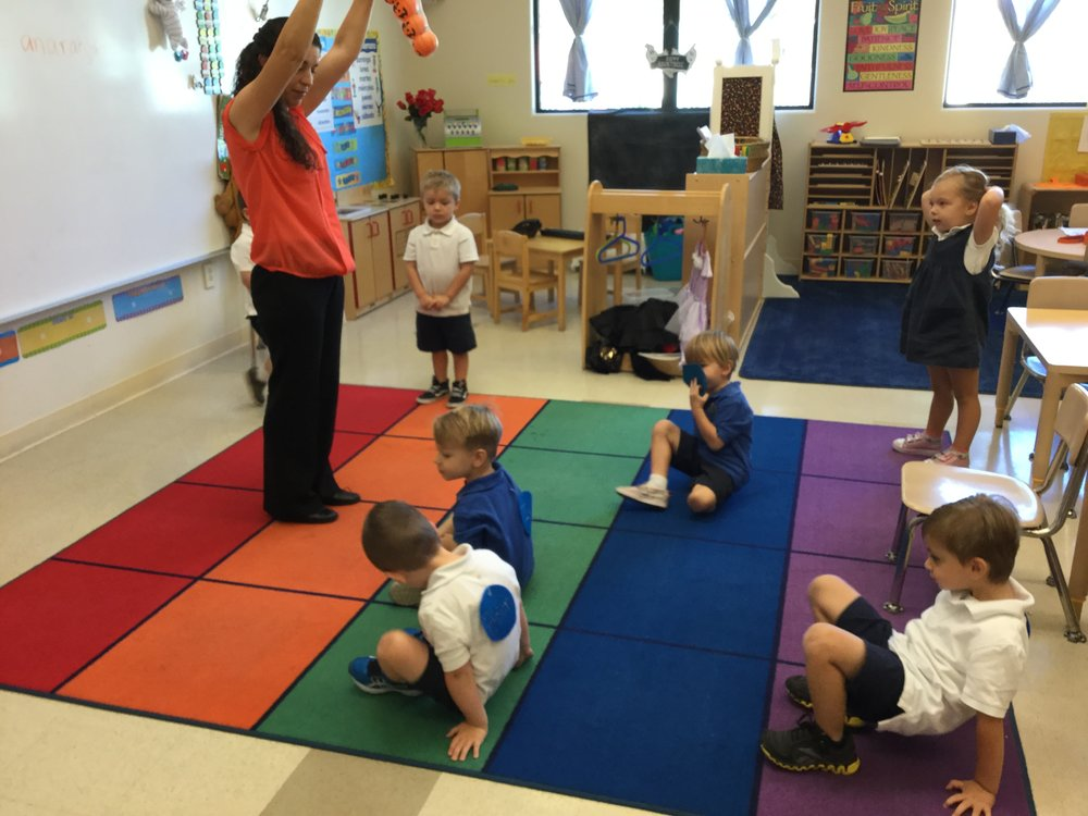 Finishing our jumping shapes for Spanish with Mrs. Maria.