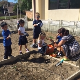 We planted pumpkin seeds and rooted the onion in our classroom nursery, we were able to just plant the garlic cloves right into the ground. We are excited to watch our garden grow !