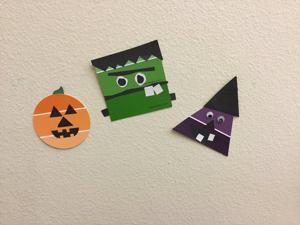 Circles, squares and triangles too were transformed into pumpkins, Frankenstein, and witches ...woohoo!!!