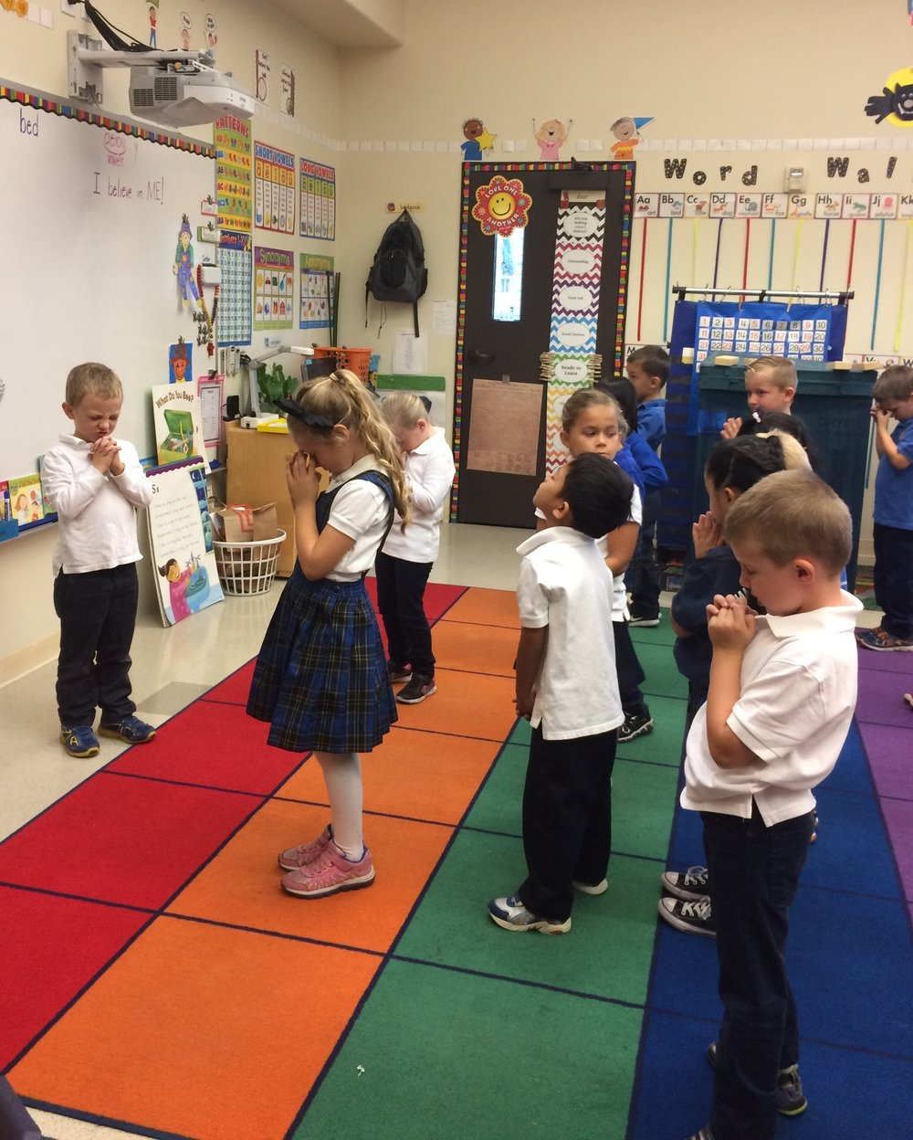 Each morning we say our prayers, we ask the children if they have any special intentions, after those are said aloud,the children pray for their own intentions. It is so sweet to see them pray!