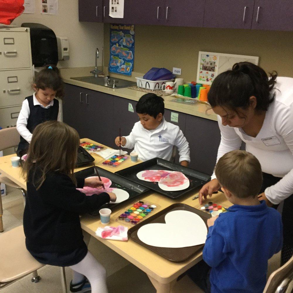 Parent volunteer and the children.