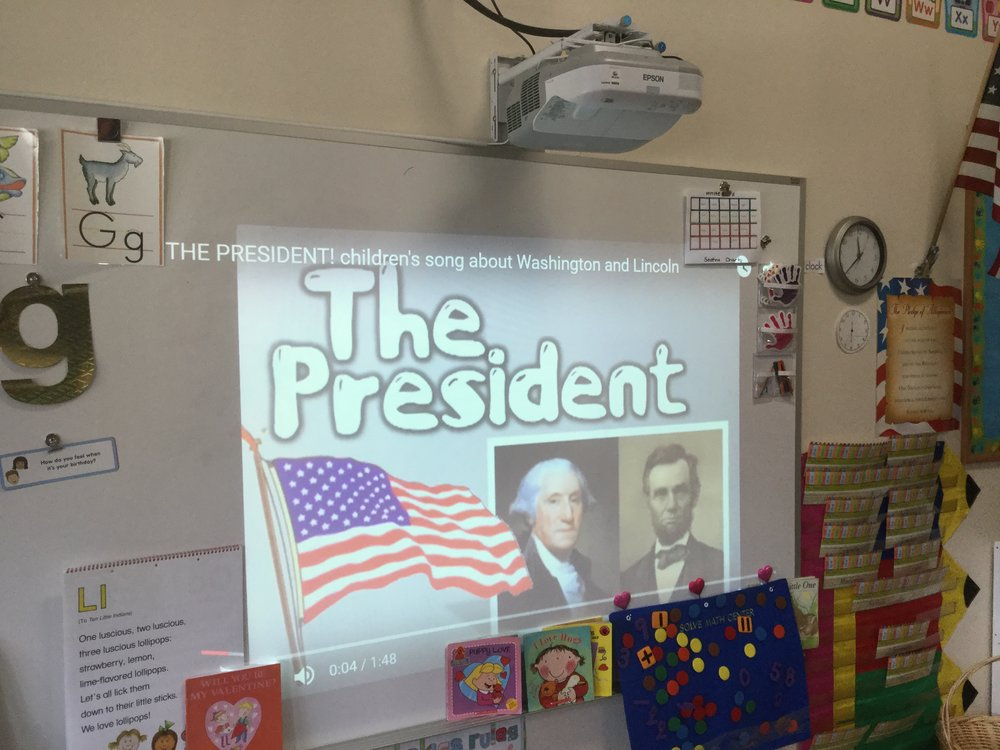 The children watched a video on George Washington and Abraham Lincoln.  The children enjoyed the president song.