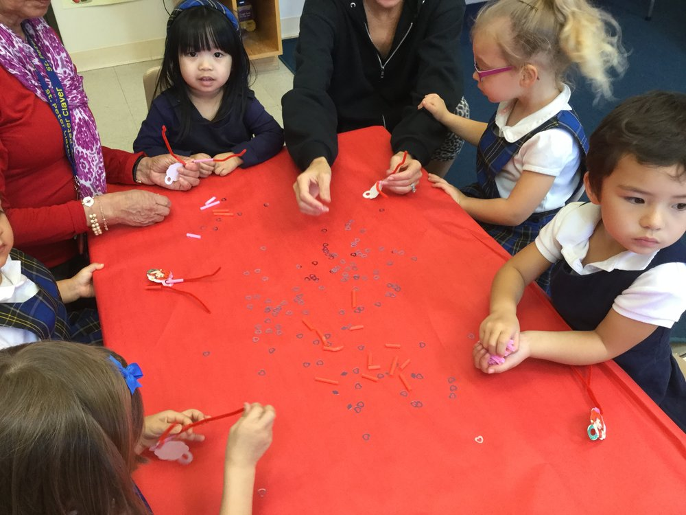 Straw bracelets were a fun task. Great activity for our fine motor skills.