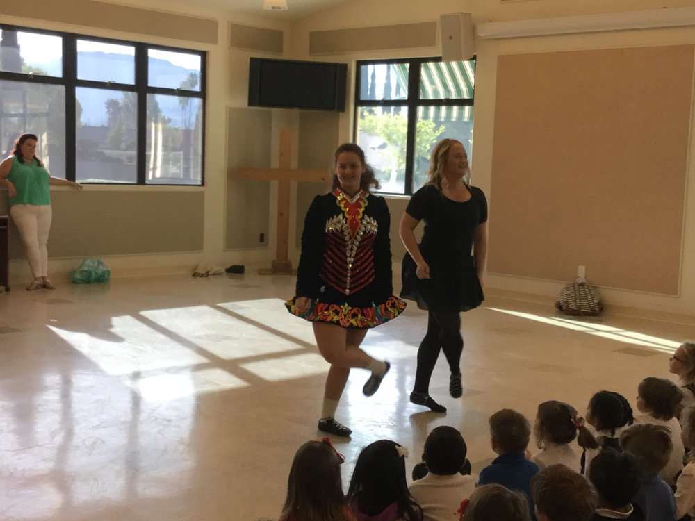We were lucky to have Irish dancers visit us.   The children enjoyed watching our very own Ms. Shannon from Room 2 perform some beautiful dances for our school.