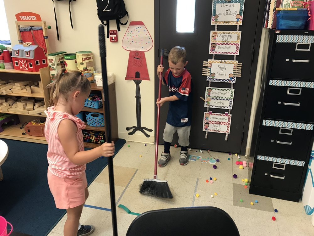 Room 2 - We spent the day making Fourth of July art projects and slime! We also played pom pom hockey! We used brooms and small puff balls and tried to score points!